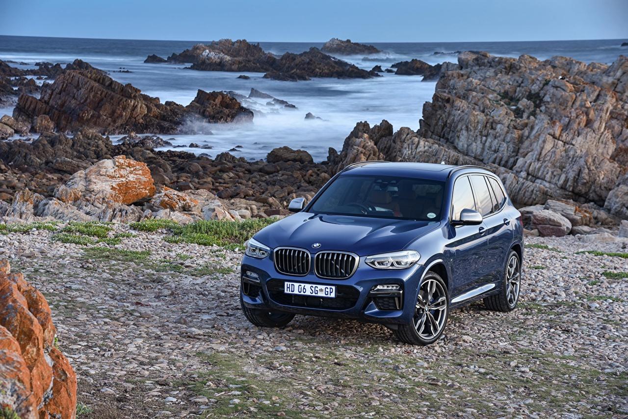 Обои для рабочего стола BMW 2017-18 X3 M40i синяя Металлик Автомобили БМВ синих синие Синий авто машина машины автомобиль