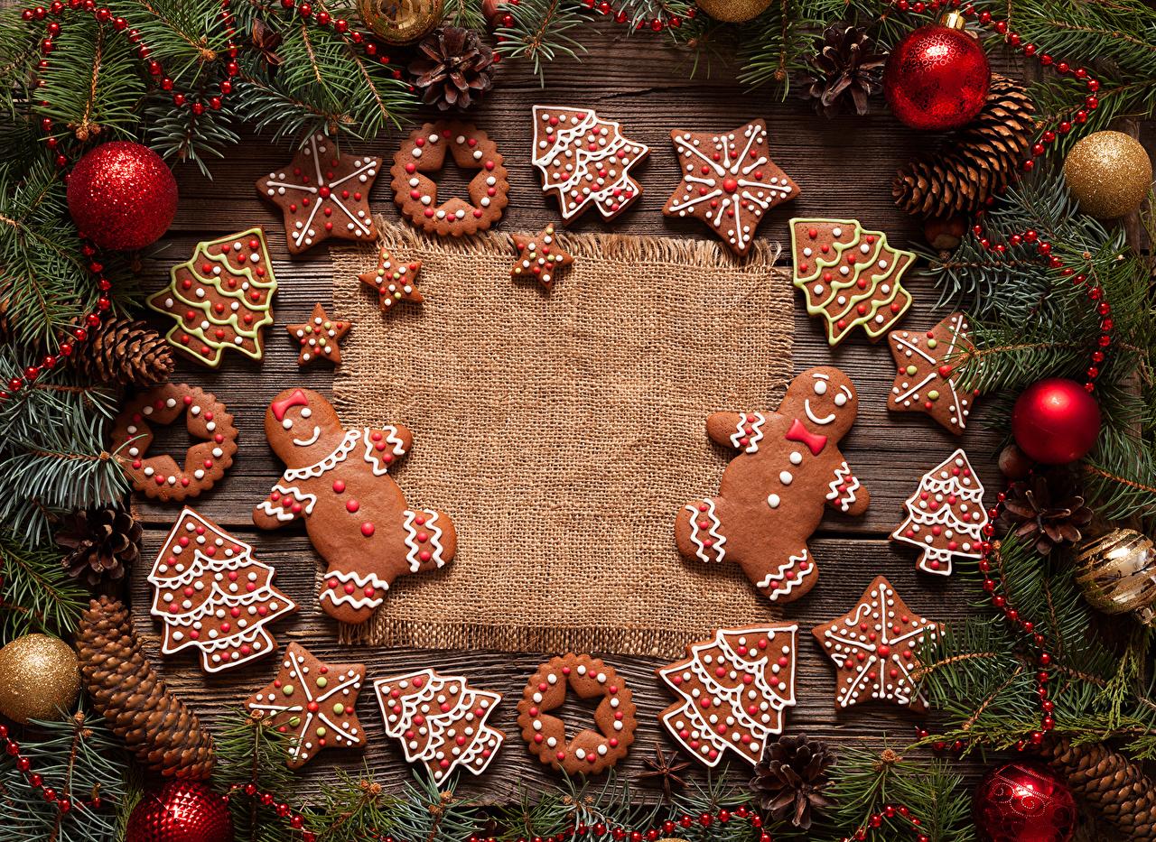 Обои для рабочего стола Рождество Шар Печенье Новый год Шарики