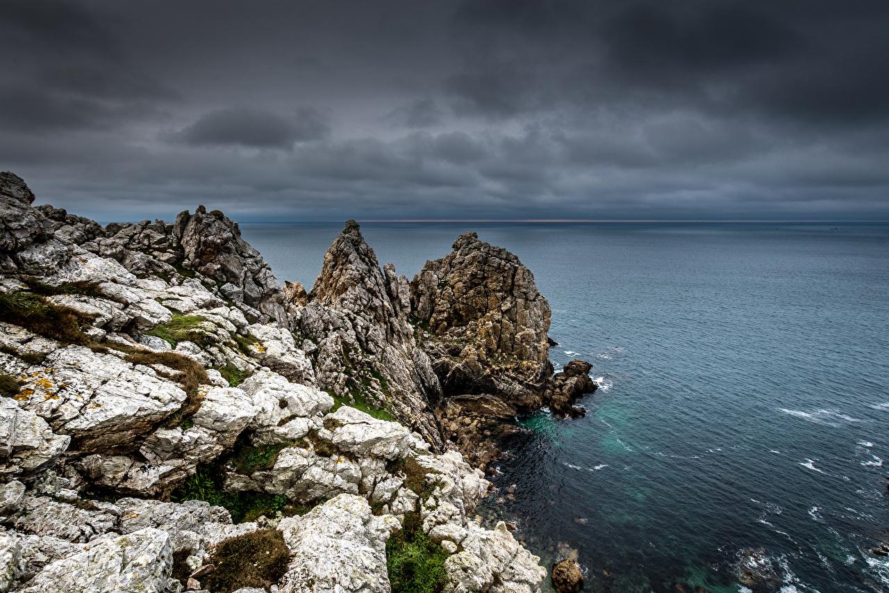 Фотография Франция Bretagne Утес берег Скала скале скалы Побережье