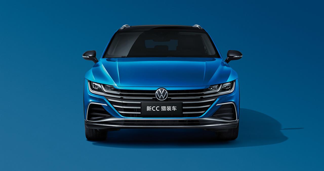 Картинка Фольксваген Универсал CC Shooting Brake 380 TSI, China, 2020 синие авто Спереди Металлик Цветной фон Volkswagen синяя Синий синих машина машины Автомобили автомобиль