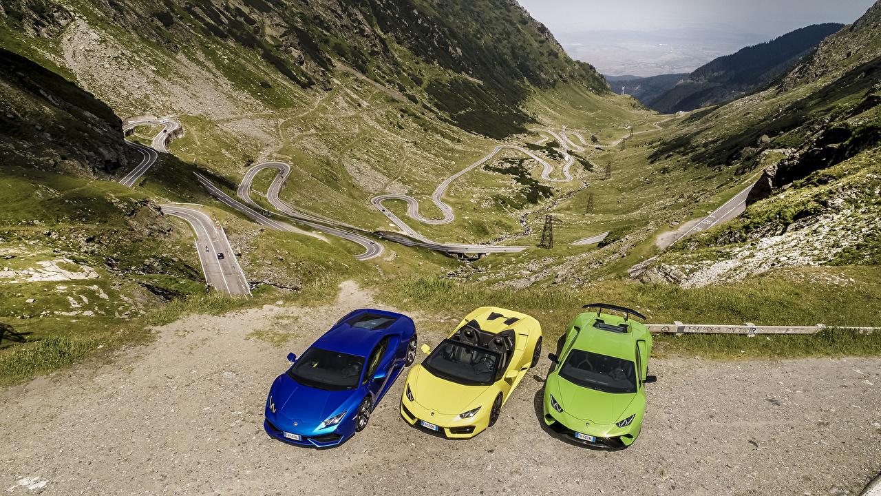 Фотографии Ламборгини Трое 3 машины Lamborghini три авто машина втроем автомобиль Автомобили