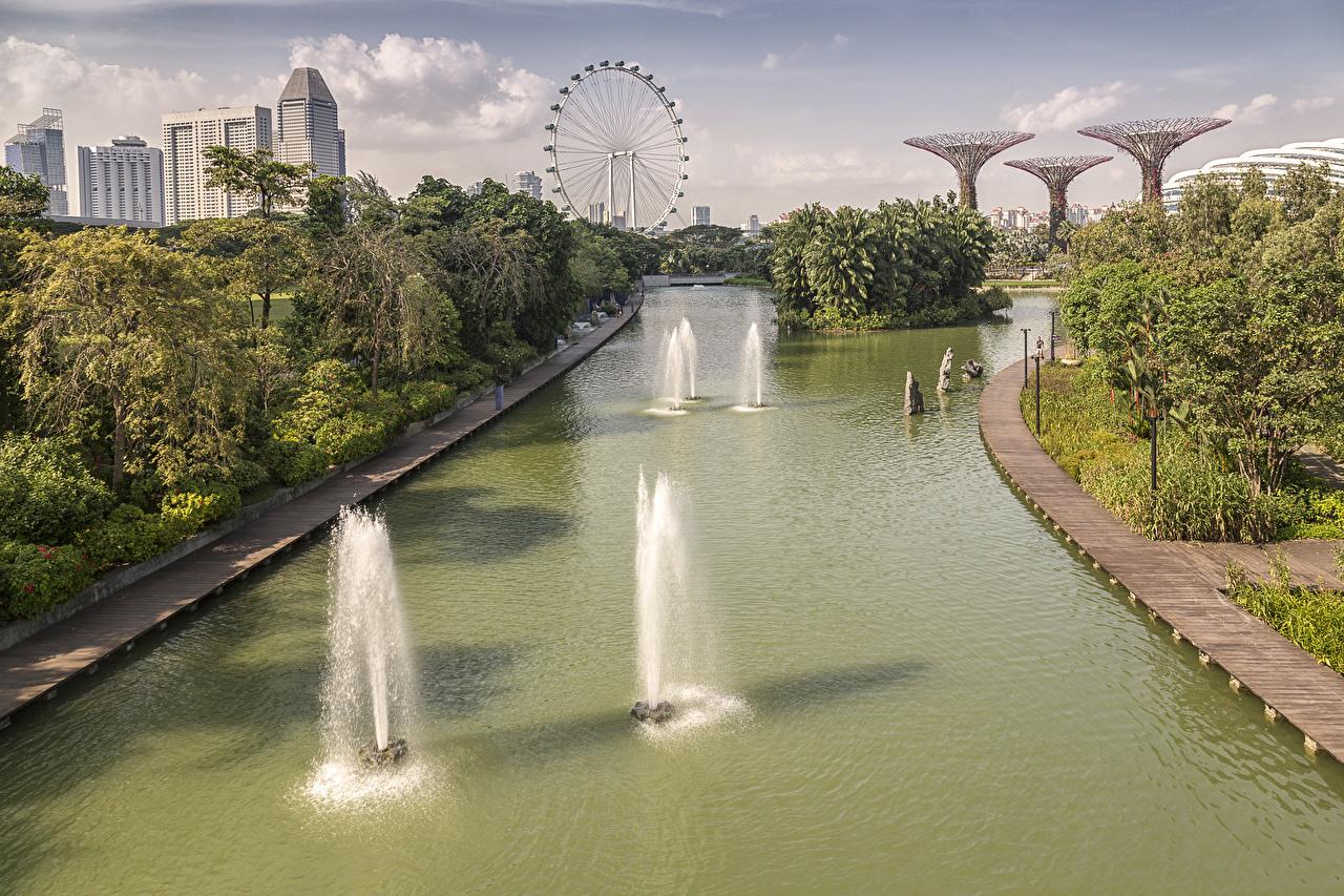 Картинка Сингапур Природа Водный канал Колесо обозрения Парки колесом обозрения парк