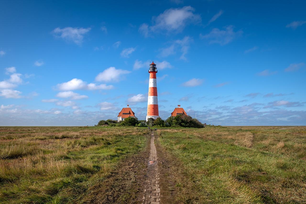 Картинка Германия Westerheversand Маяки Природа Небо маяк