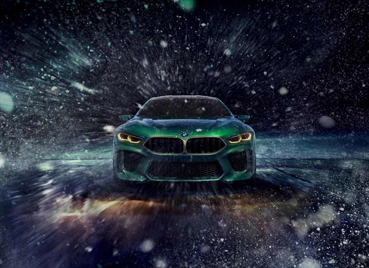 Фотография BMW Зима зеленых Снежинки машины Спереди БМВ зимние Зеленый зеленые зеленая снежинка авто машина автомобиль Автомобили