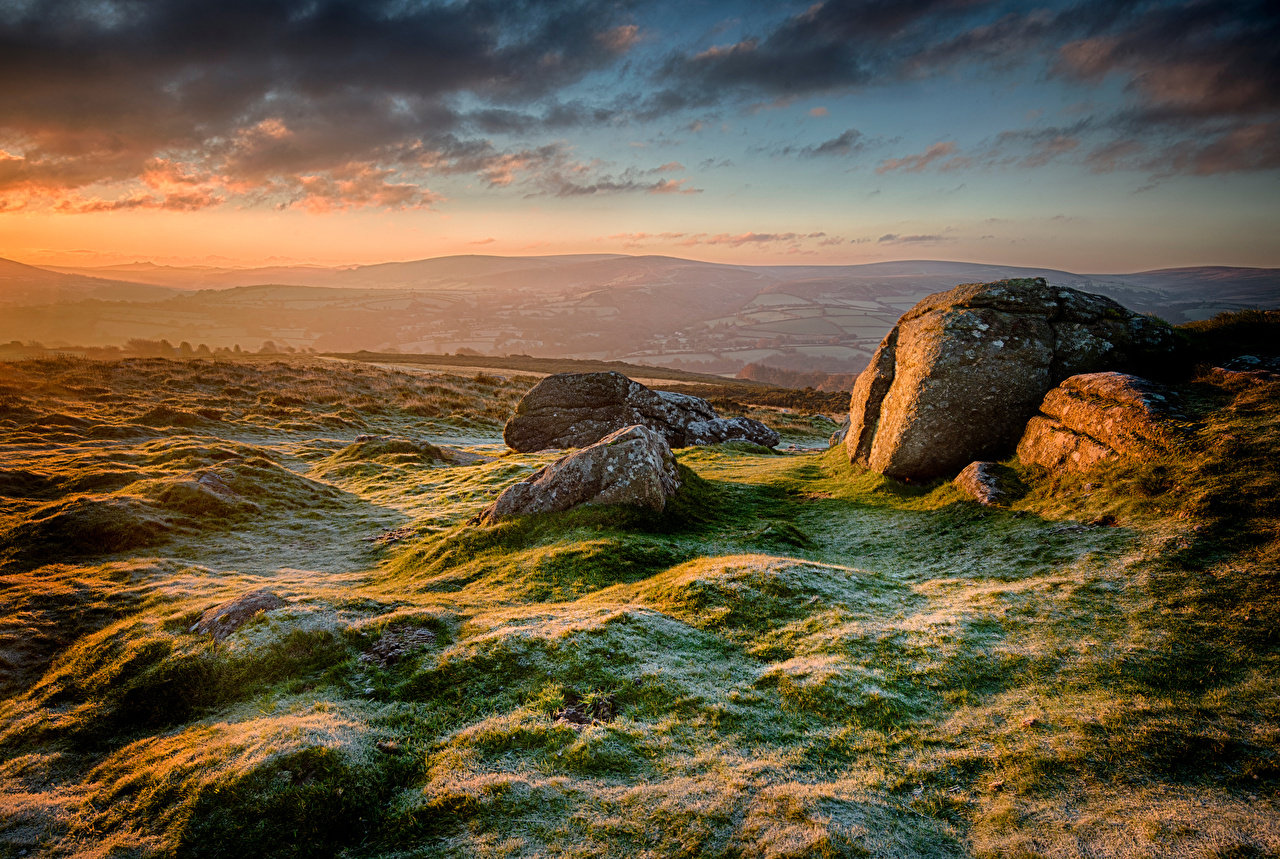 Фотография Англия Иней Chagford Природа Утро холмов Камни Облака холм Холмы Камень облако облачно