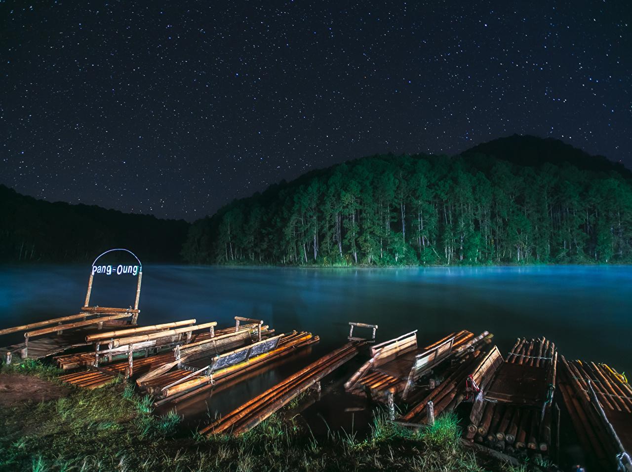 Фотография Таиланд Mae Hong Son Природа Леса Ночь речка Пристань Реки Пирсы ночью в ночи Ночные Причалы