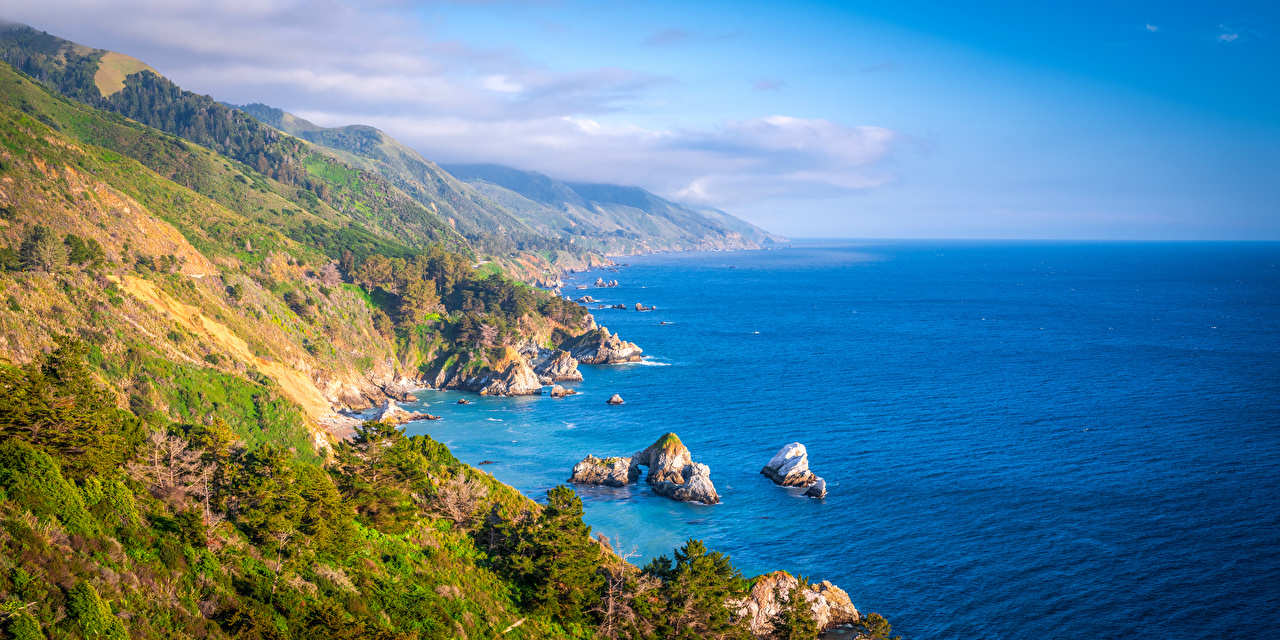 Картинки Калифорния америка Панорама Океан скале Природа Побережье калифорнии США штаты панорамная Утес Скала скалы берег
