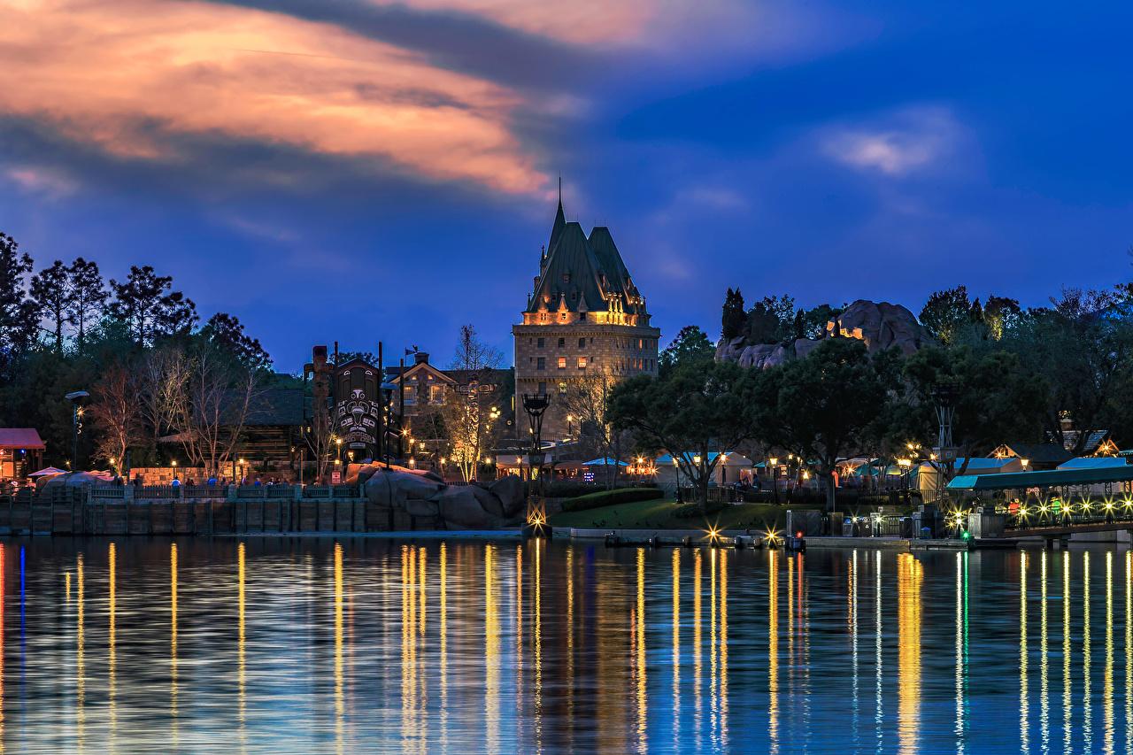Фотография Флорида США Disney World Epcot Orlando Пруд Парки Вечер Дома Города Дизайн штаты америка парк город Здания дизайна