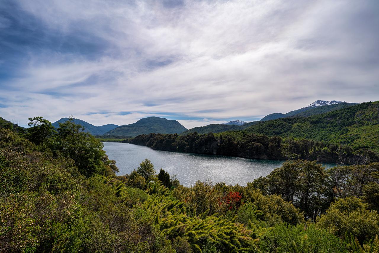 Фотографии Аргентина Patagonia, Seven Lakes Road Горы Природа Озеро облако гора Облака облачно