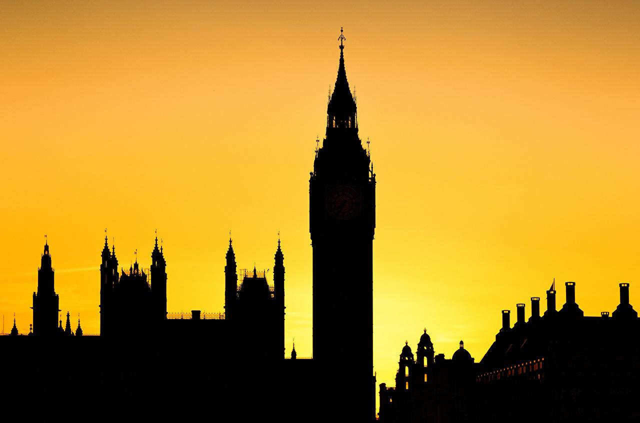 Обои Лондон Биг-Бен Англия Башня Силуэт Города