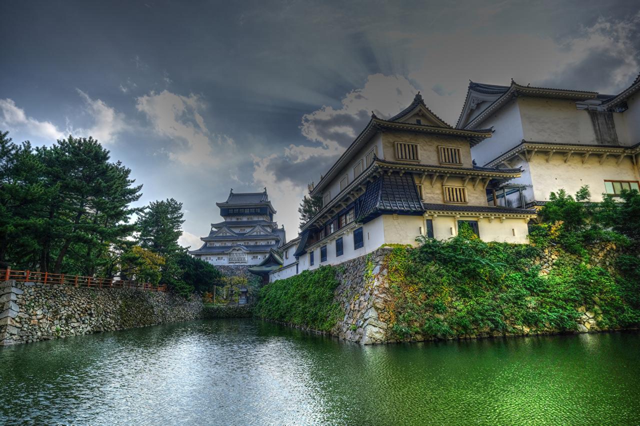 Фото Япония Kitakyushu Водный канал Дома Города Здания