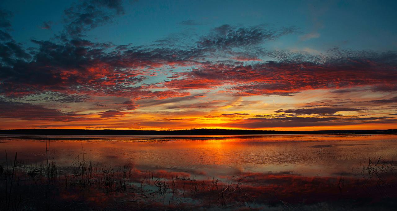 Фотографии Природа Небо Рассветы и закаты Реки Облака речка