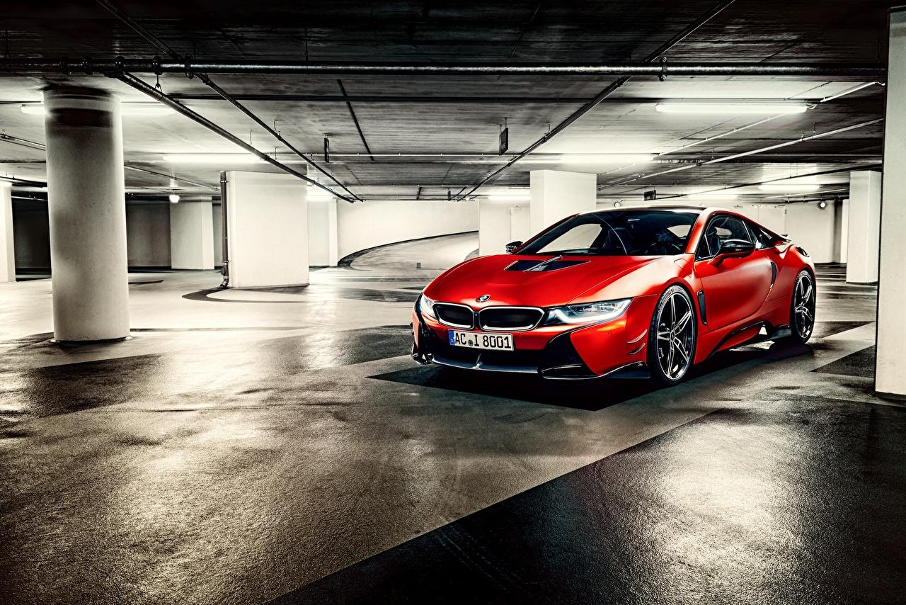 Обои для рабочего стола BMW I12 Парковка красная авто БМВ паркинг стоянка парковке припаркованная Красный красные красных машина машины Автомобили автомобиль