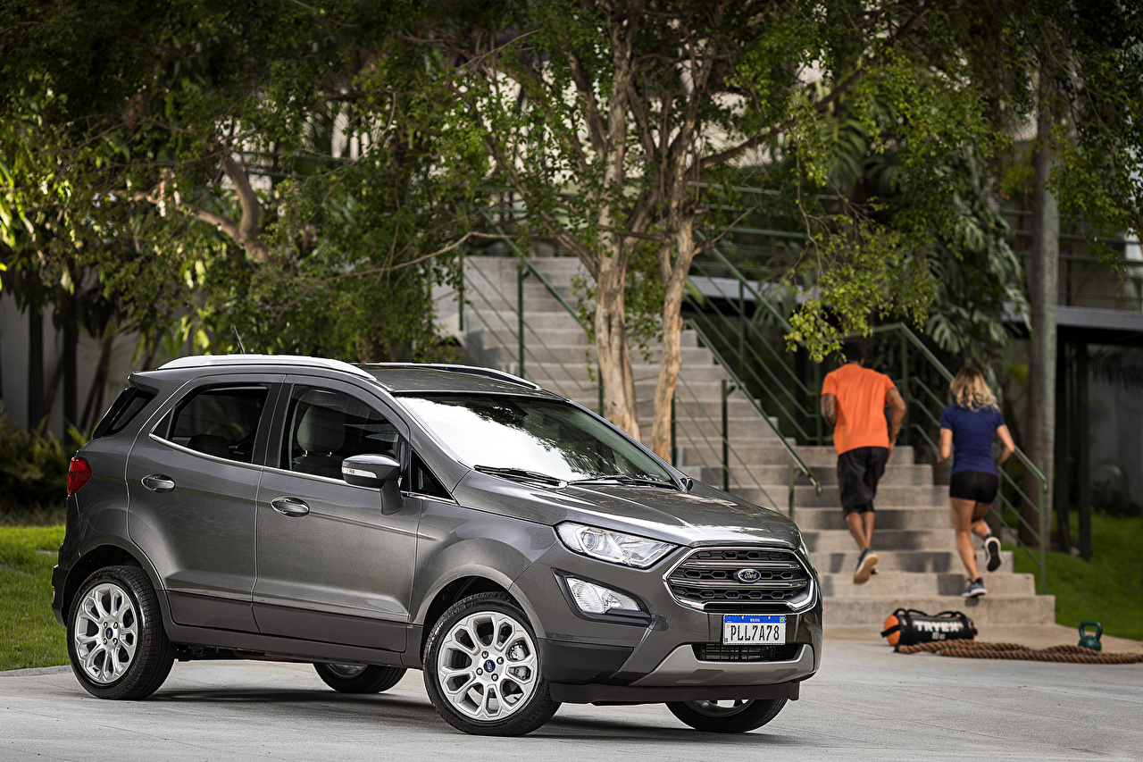 Обои для рабочего стола Ford 2018-19 EcoSport Titanium Latam серая машины Форд серые Серый авто машина автомобиль Автомобили