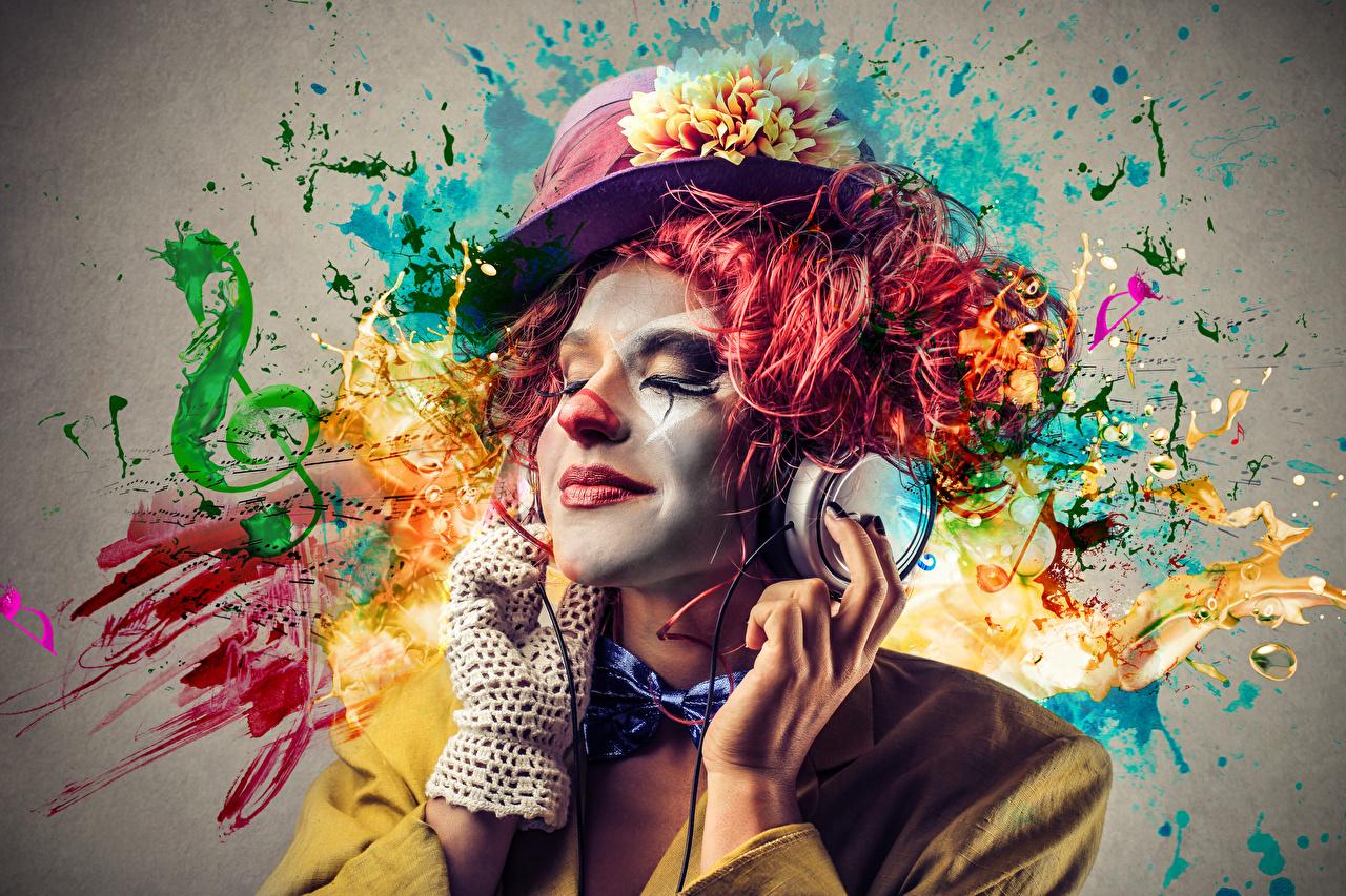 Фотография Наушники Мужчины Макияж Клоун Шляпа в наушниках мейкап косметика на лице клоуны клоуна шляпе шляпы
