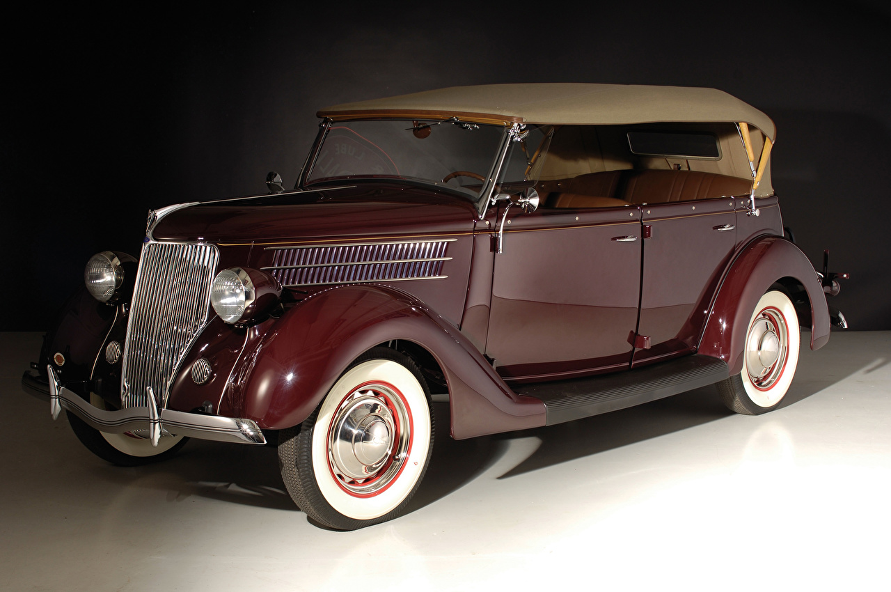 Фотография Ford 1936 V8 Deluxe Phaeton Винтаж бордовая машина Металлик Форд Ретро бордовые Бордовый старинные темно красный авто машины автомобиль Автомобили