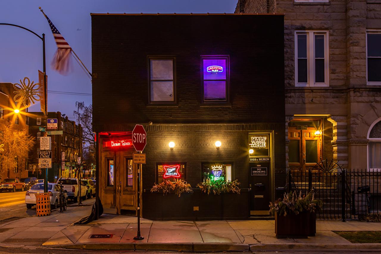 Фотографии Чикаго город штаты улице Ночь Уличные фонари город Здания США америка улиц Улица ночью в ночи Ночные Дома Города