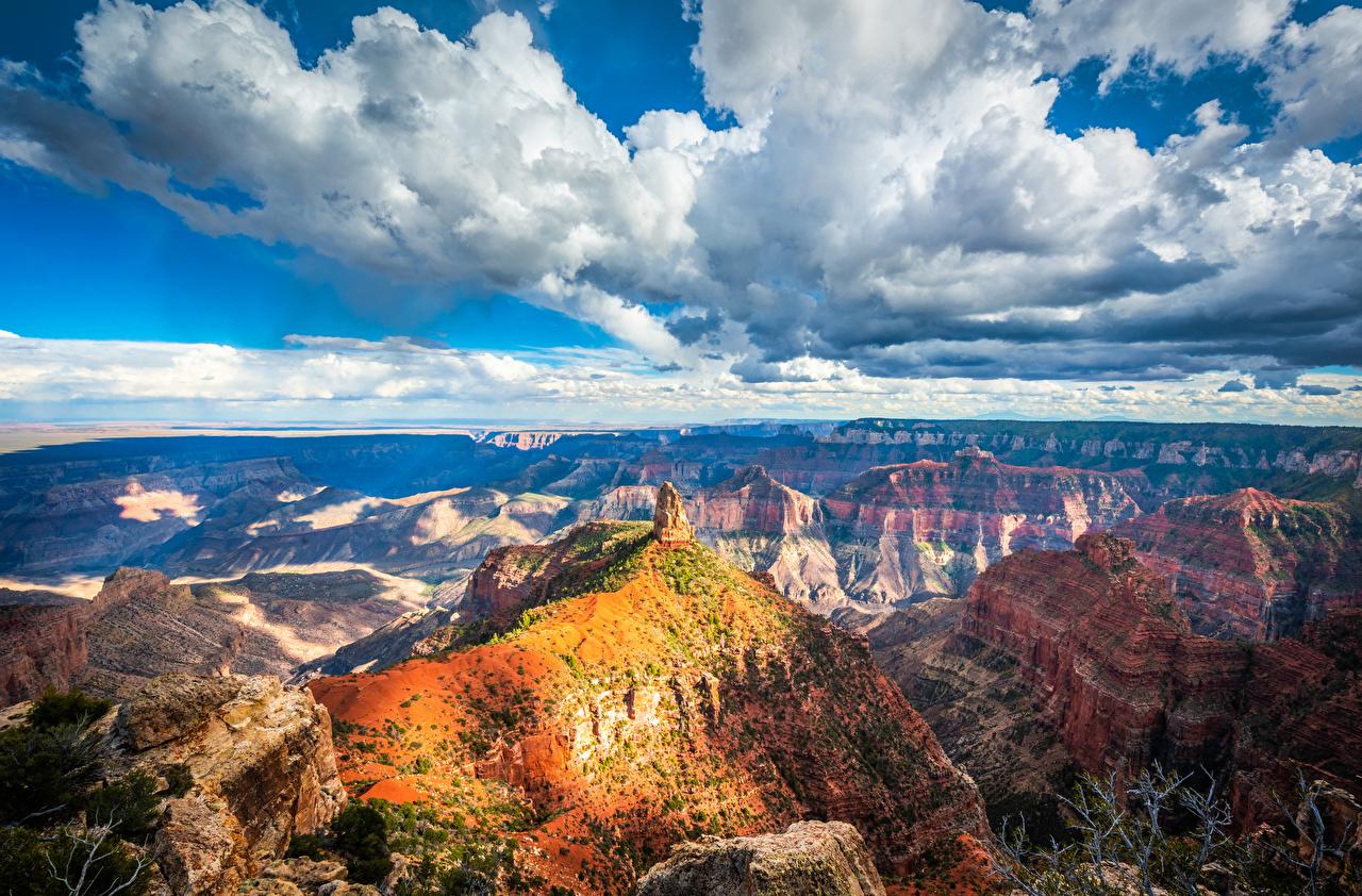 Обои для рабочего стола Гранд-Каньон парк америка Arizona Скала каньоны Природа Парки Пейзаж облачно США штаты Утес скале скалы Каньон каньона парк Облака облако