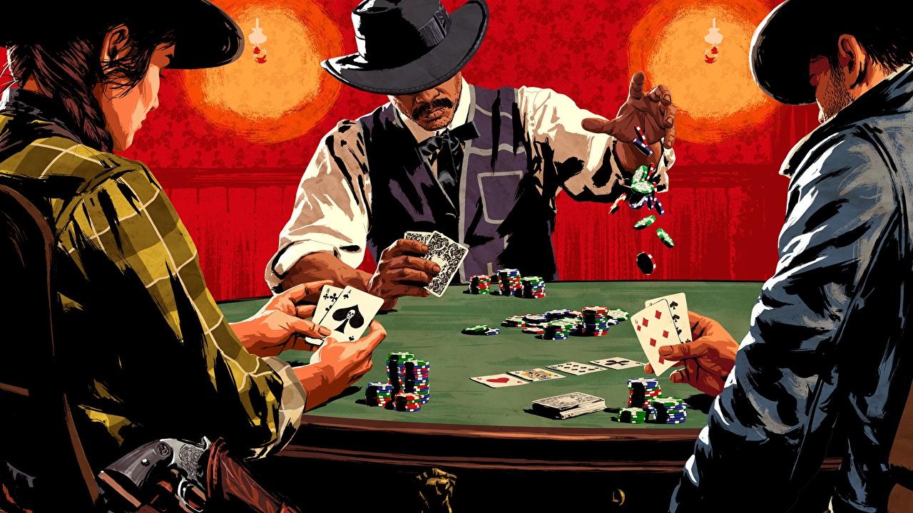Картинки Red Dead Redemption 2 Poker Шляпа Игры столы игральные карты шляпе шляпы компьютерная игра Стол стола Карты