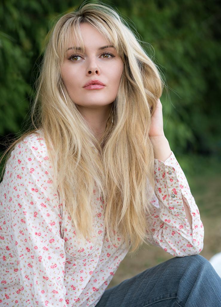Картинка Carla Monaco блондинок Волосы Девушки смотрят  для мобильного телефона блондинки Блондинка волос девушка молодая женщина молодые женщины Взгляд смотрит
