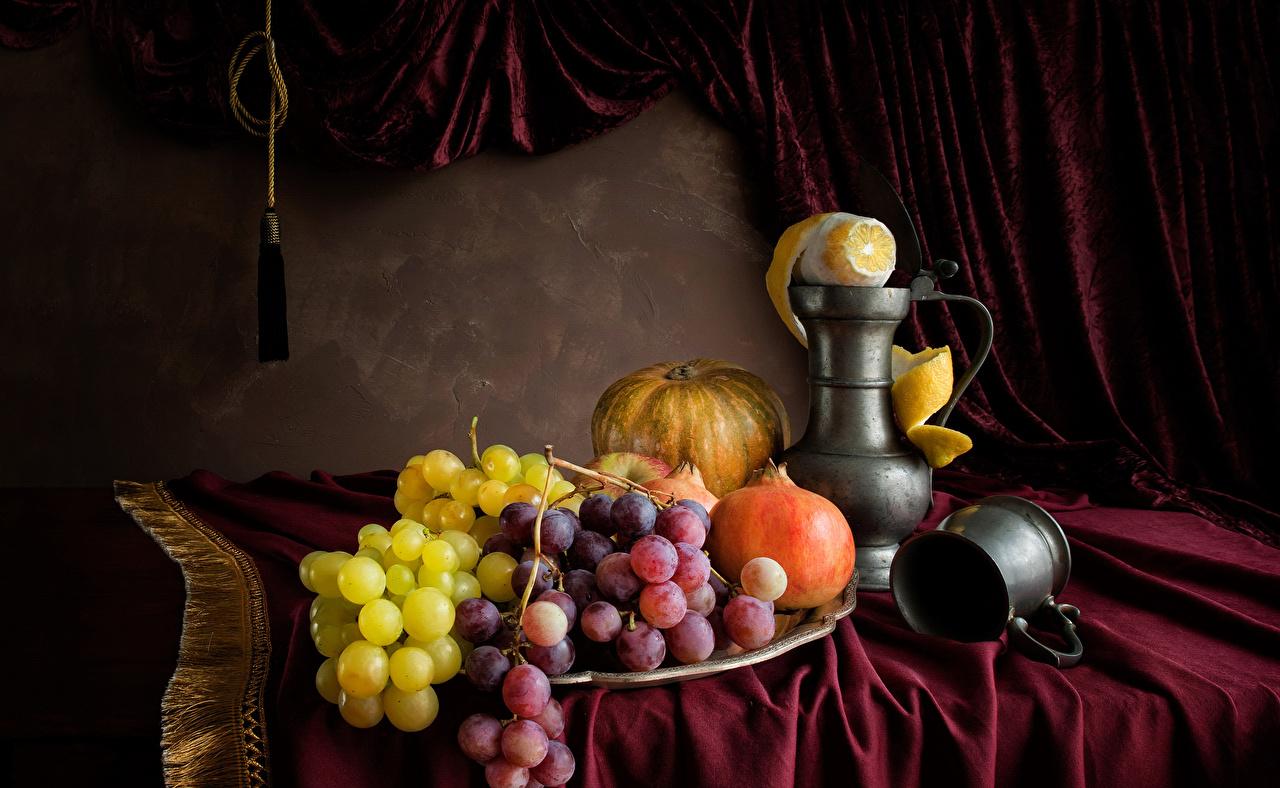 Картинки Тыква Лимоны Гранат кувшины Виноград Пища чашке Натюрморт Кувшин Еда Чашка Продукты питания