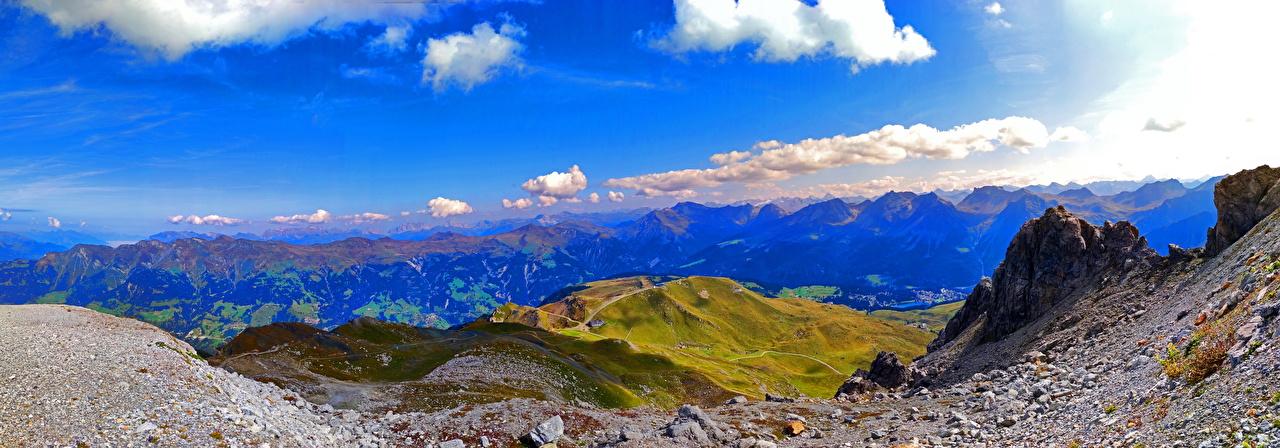 Картинки альп Швейцария Панорама Graubünden Горы Природа Небо Облака Альпы панорамная гора облако облачно