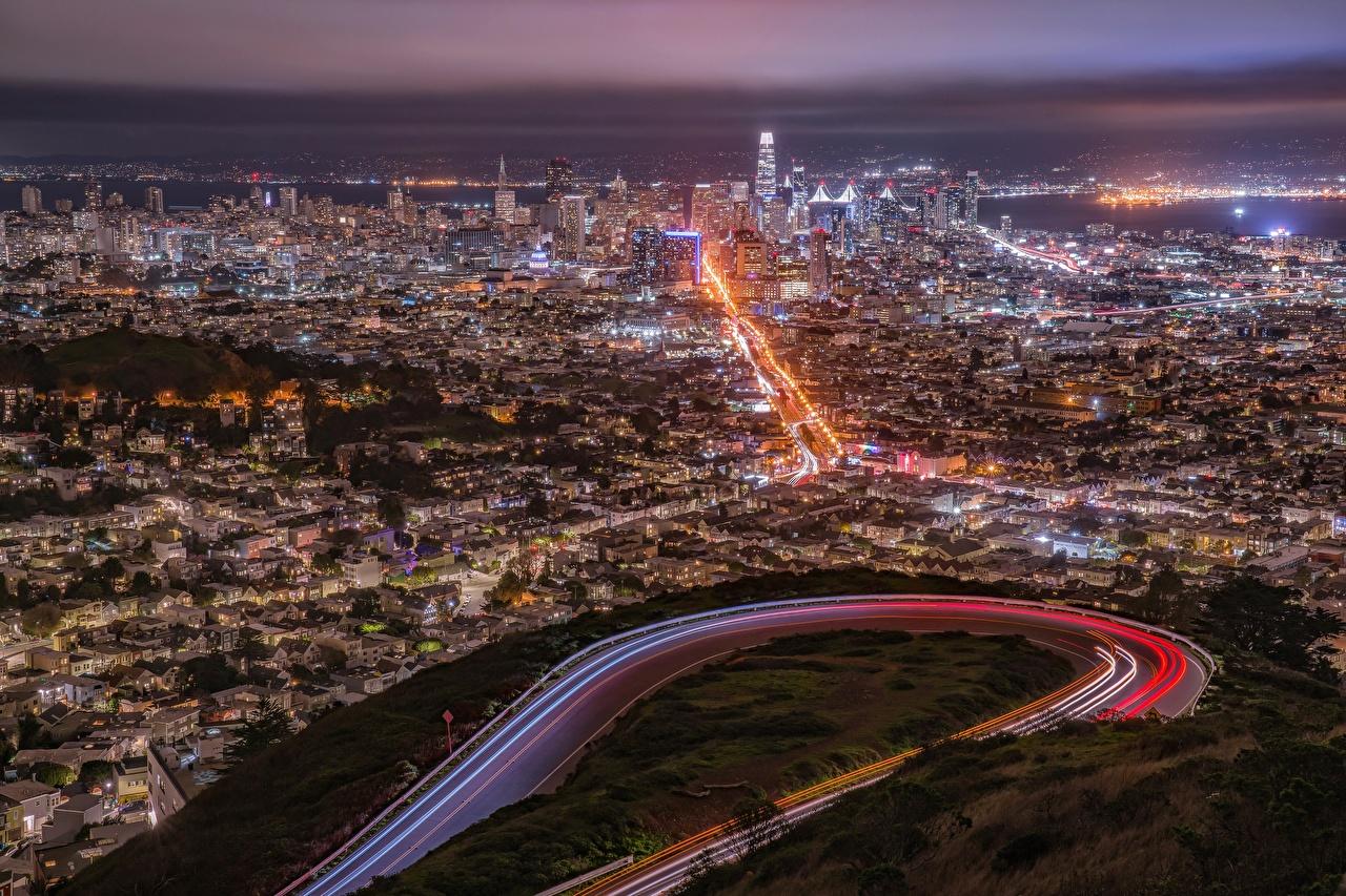 Картинки Сан-Франциско США мегаполиса Ночные Сверху Города штаты америка Мегаполис Ночь ночью в ночи город