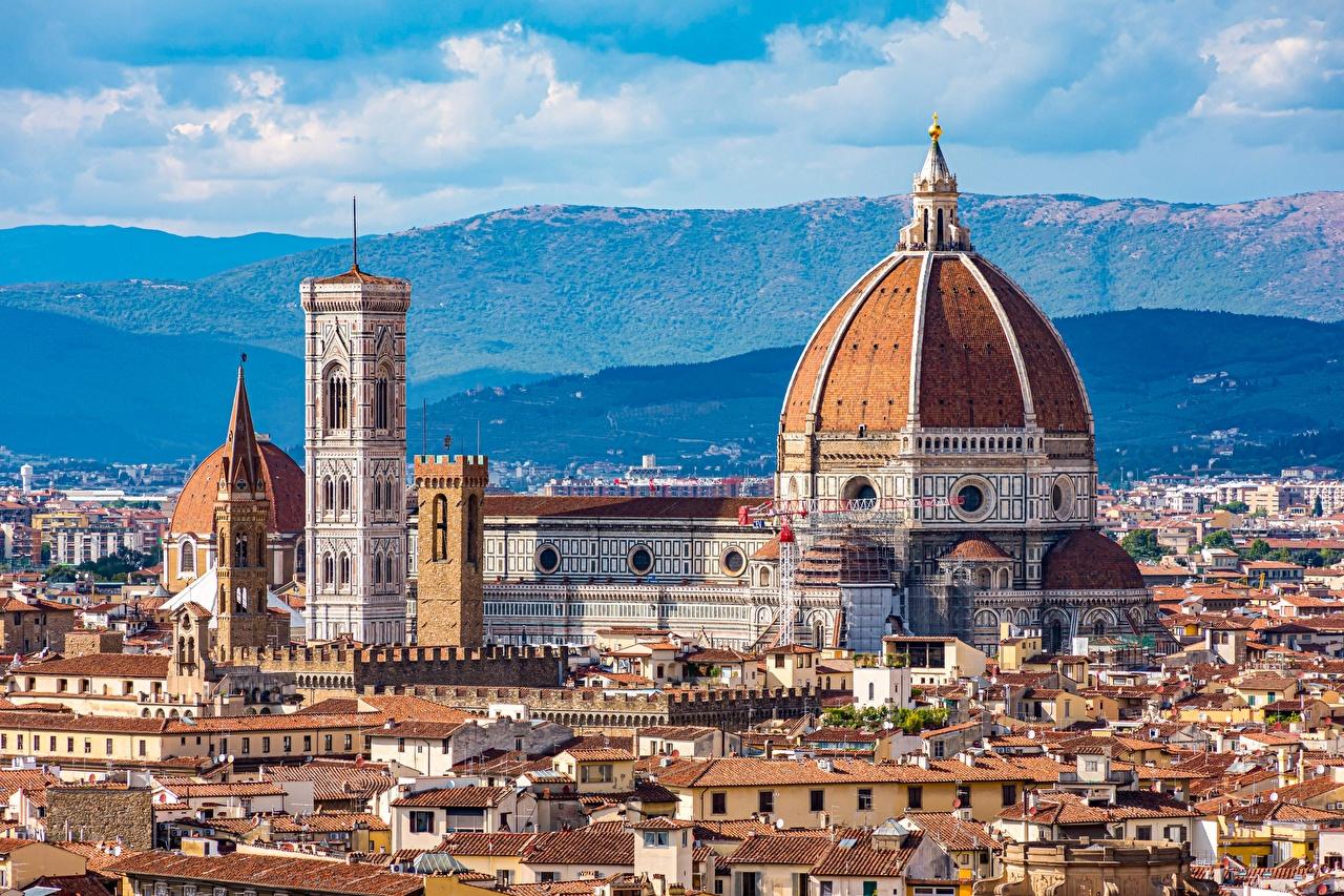 Фотографии Флоренция Собор Италия Santa Maria del Fiore купола Дома Города Купол город Здания