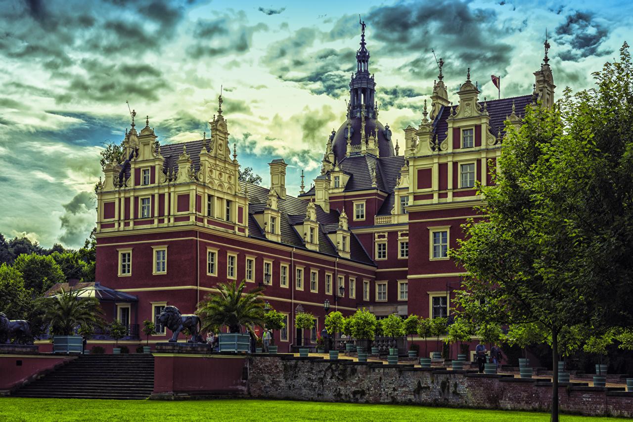 Обои для рабочего стола дворца Германия Muskau Park Города Дворец город
