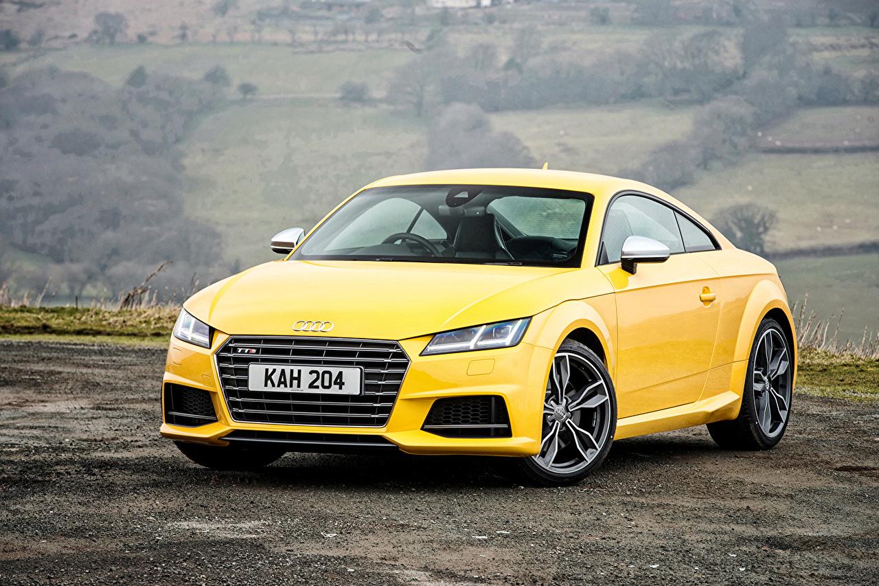 Картинка Ауди 2015 TTS Coupe UK-spec желтая Автомобили Audi желтых желтые Желтый авто машина машины автомобиль