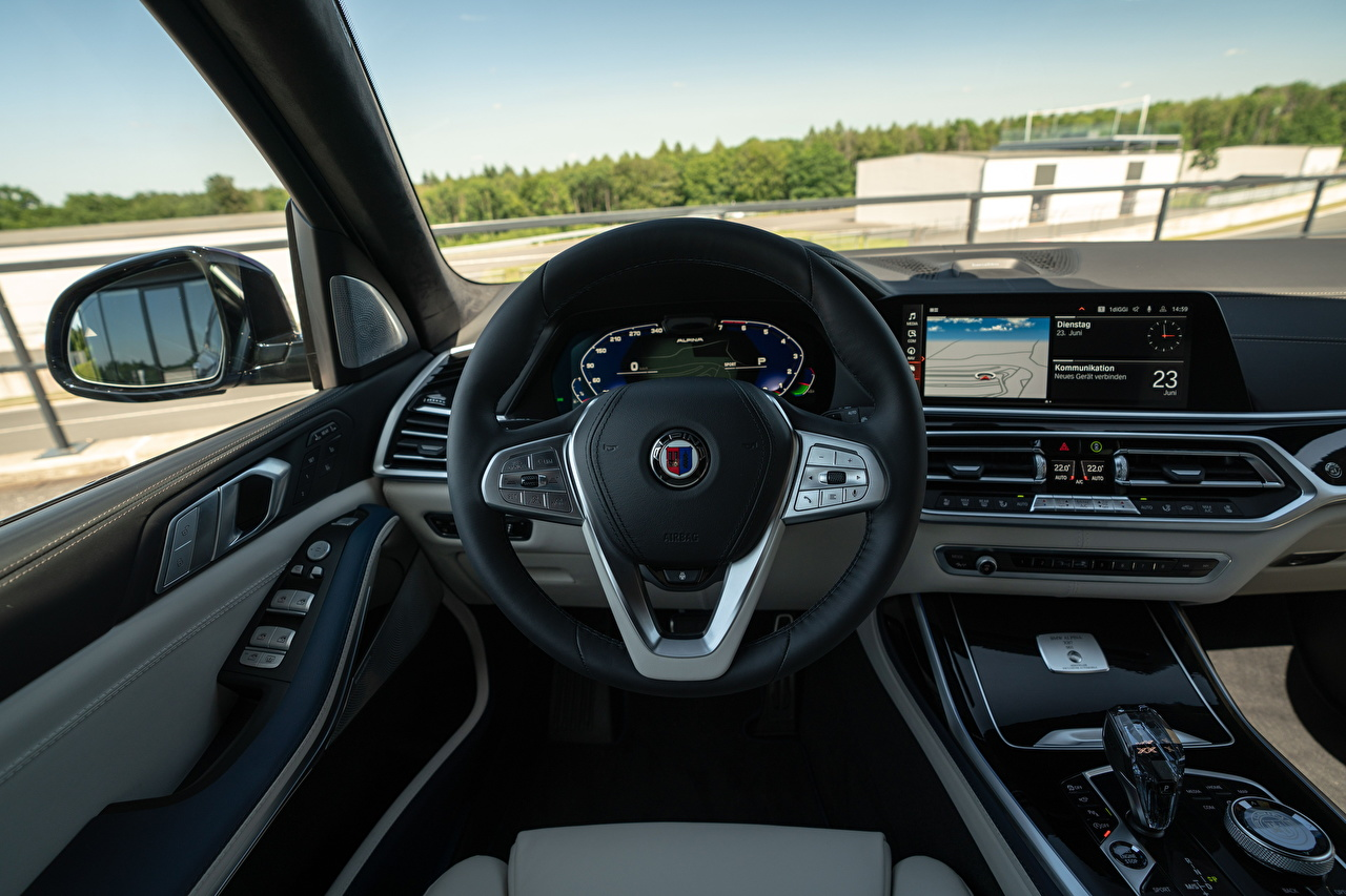 Фото BMW Салоны Автомобильный руль Alpina XB7 Worldwide, G07, 2020 авто БМВ Рулевое колесо машина машины Автомобили автомобиль