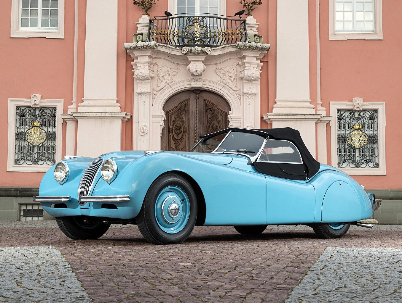 Фотография Jaguar 1948-50 XK120 Alloy Roadster Родстер Ретро голубые Машины Металлик Ягуар Винтаж голубых Голубой голубая старинные Авто Автомобили