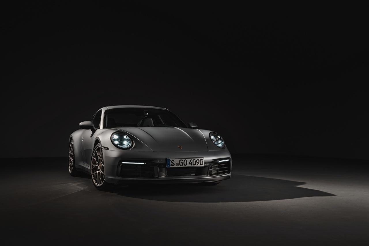 Обои для рабочего стола Порше 911 Carrera 4S 992 2019 Спереди Автомобили Porsche авто машина машины автомобиль