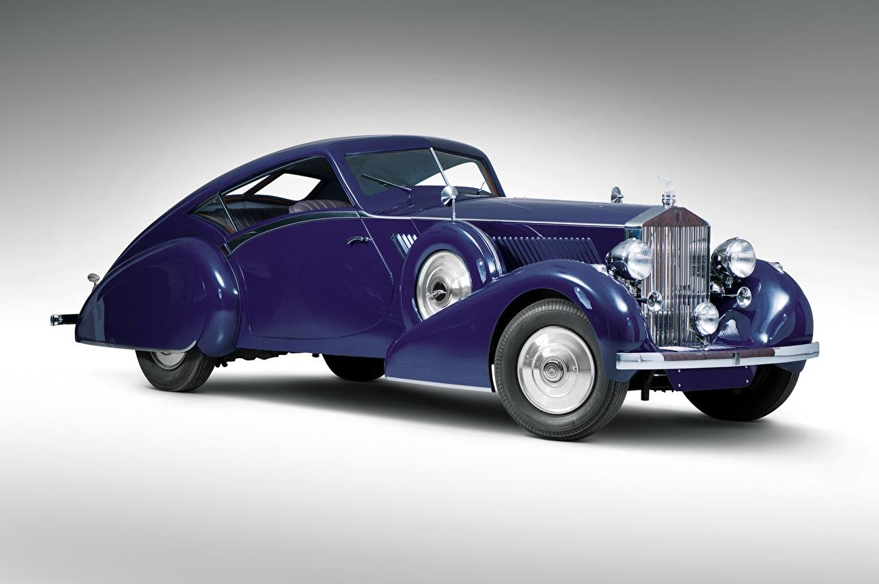 Фото Роллс ройс 1937 Phantom III Aero Coupe Купе винтаж фиолетовая машины Серый фон Rolls-Royce Ретро старинные Фиолетовый фиолетовые фиолетовых авто машина Автомобили автомобиль сером фоне