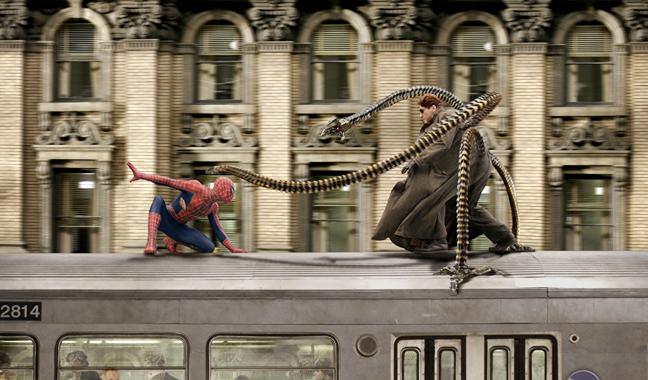 Картинки Человек-паук Человек паук герой Tobey Maguire, Peter Parker, Alfred Molina, Dr. Otto Octavius кино Поезда Фильмы