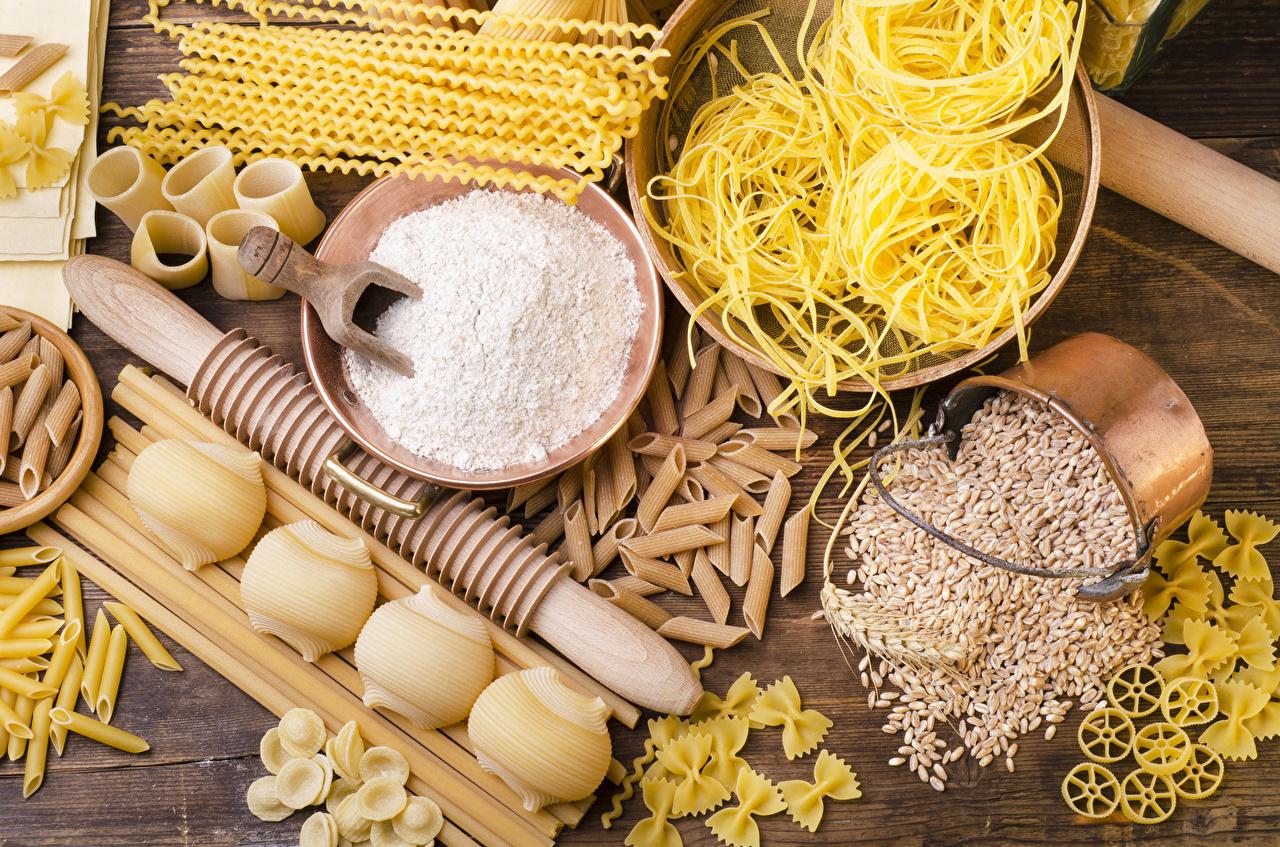 Фотографии Мука Макароны Зерна Еда Пища Продукты питания