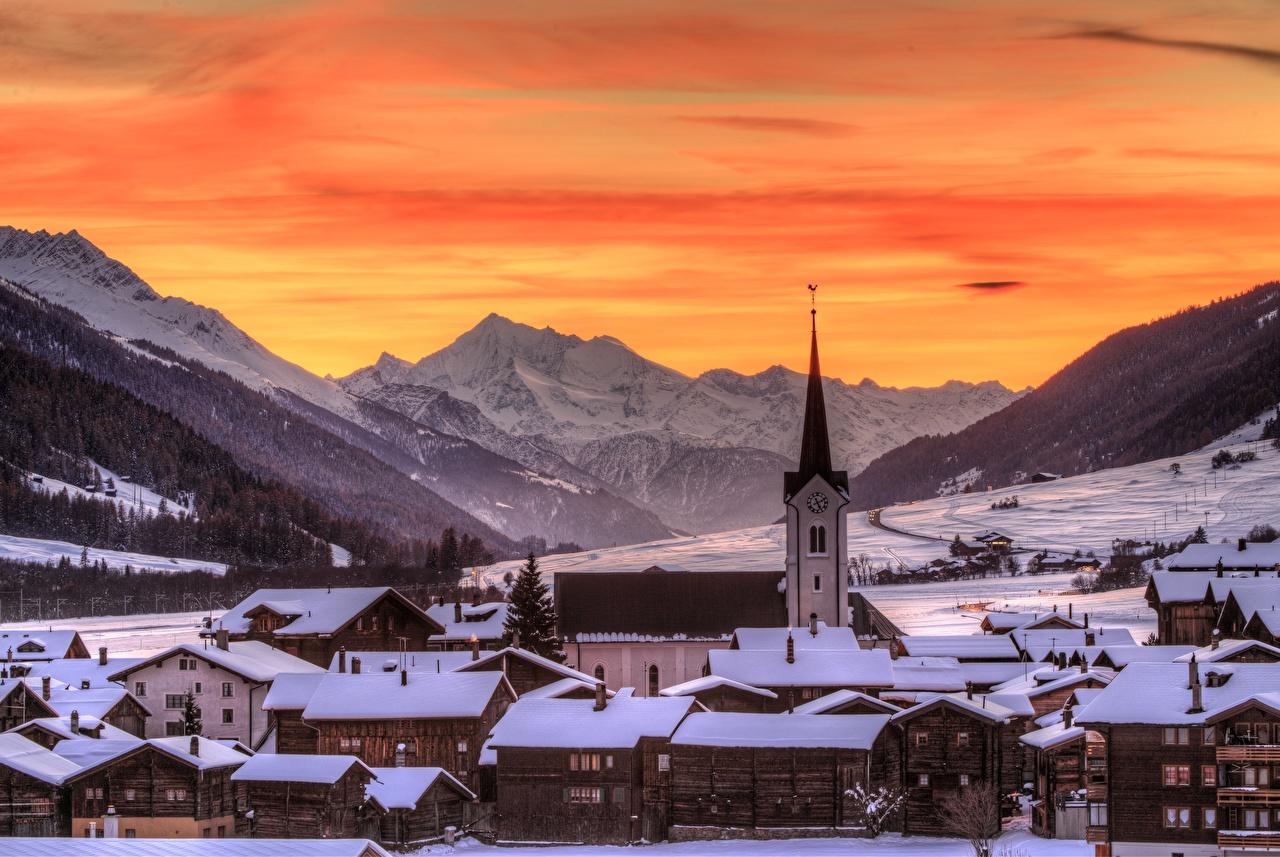 Фото Швейцария Goms, Ulrichen Горы Зима Снег Дома Города зимние Здания