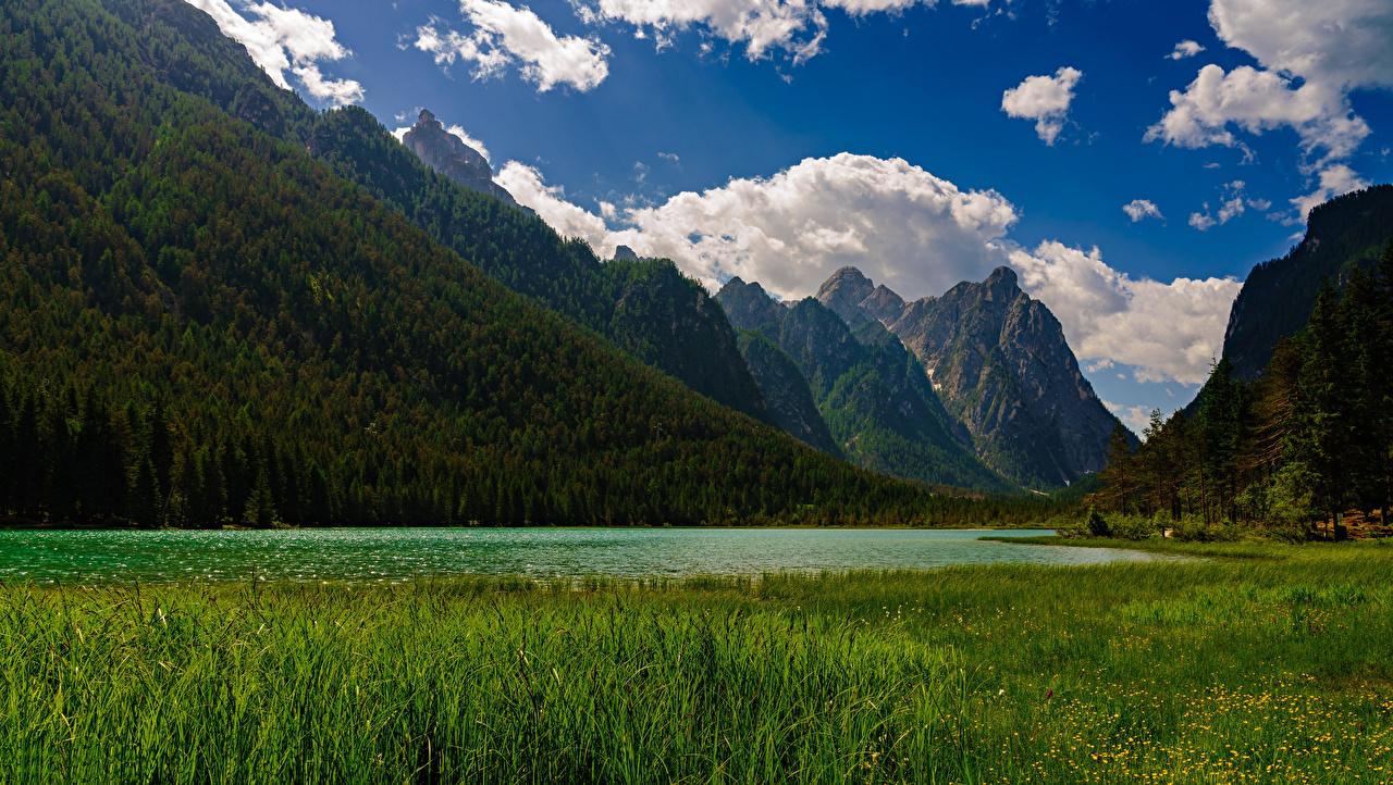 Фотографии Альпы Италия Lake Dobbiaco Горы Природа Озеро Пейзаж Облака альп гора облако облачно