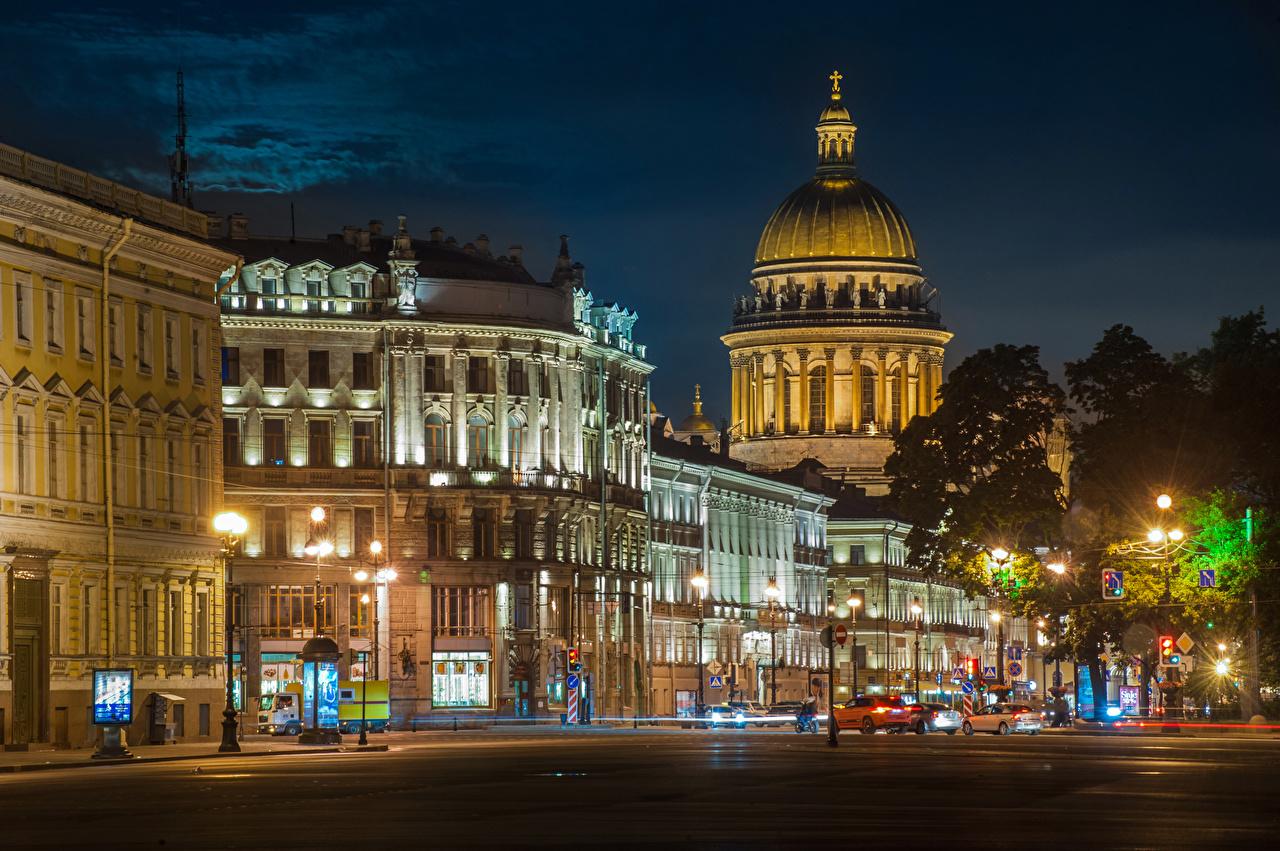 Картинки Санкт-Петербург Россия Улица Ночь Уличные фонари Дома Города Ночные Здания