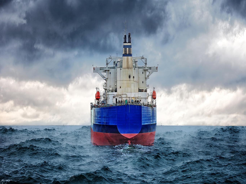 Картинка Море Волны корабль Облака Корабли облако облачно