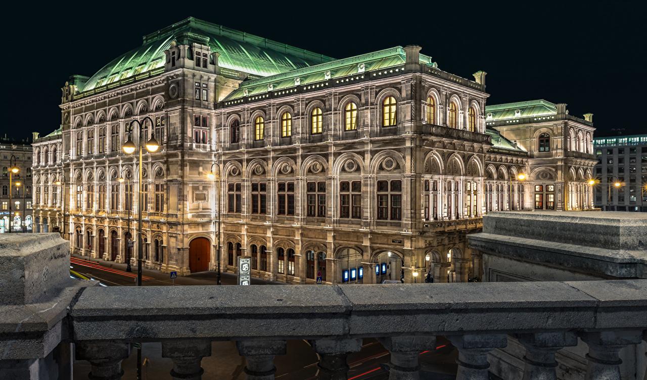 Фотографии Вена Австрия State Opera Ночь Уличные фонари Дома Города ночью в ночи Ночные город Здания