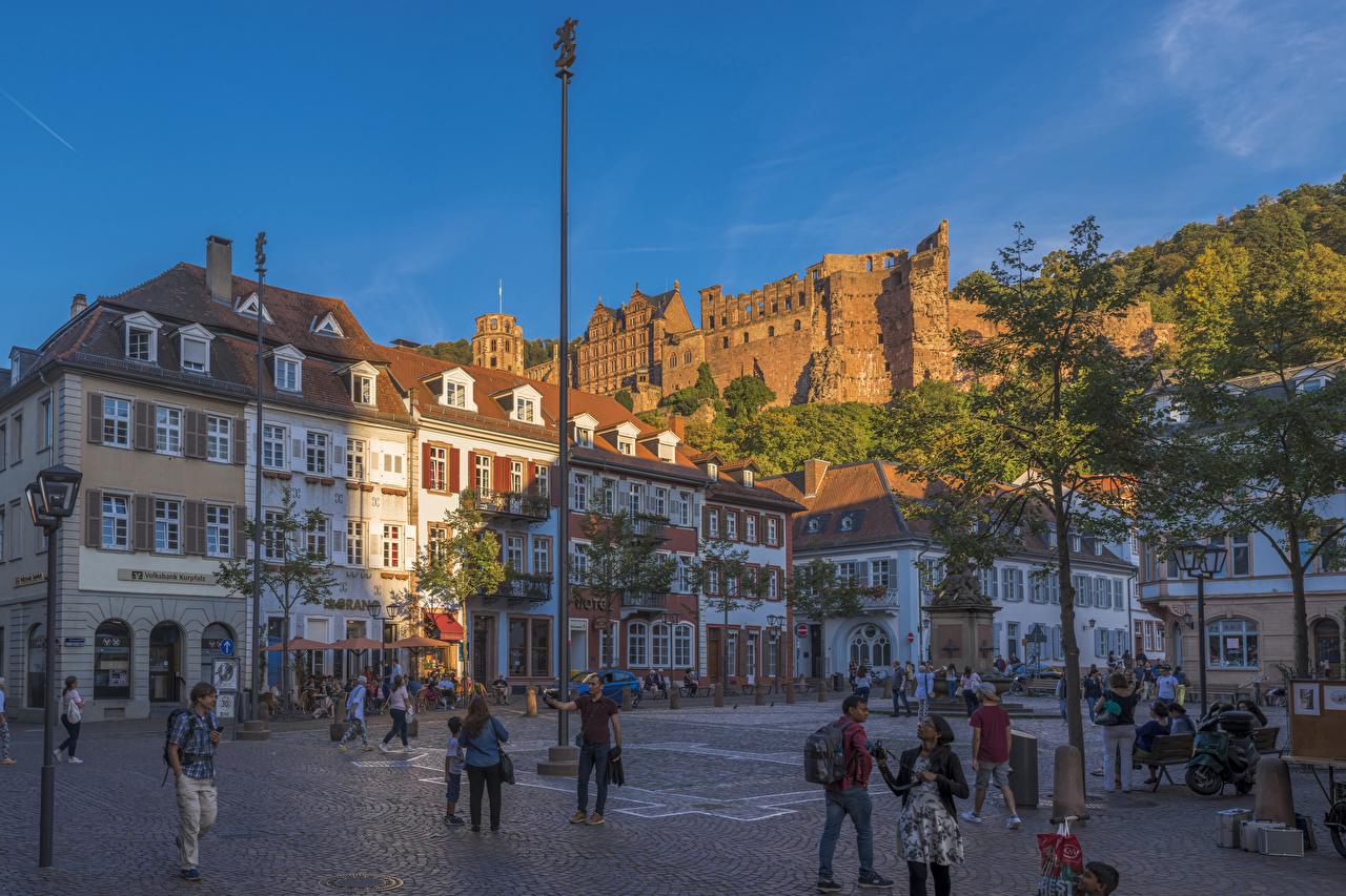 Обои Германия Городская площадь Heidelberg улице Уличные фонари Дома город городской площади улиц Улица Города Здания