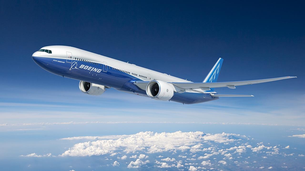 Фото Boeing Самолеты Пассажирские Самолеты 777-300ER Полет Авиация Боинг летят летит летящий