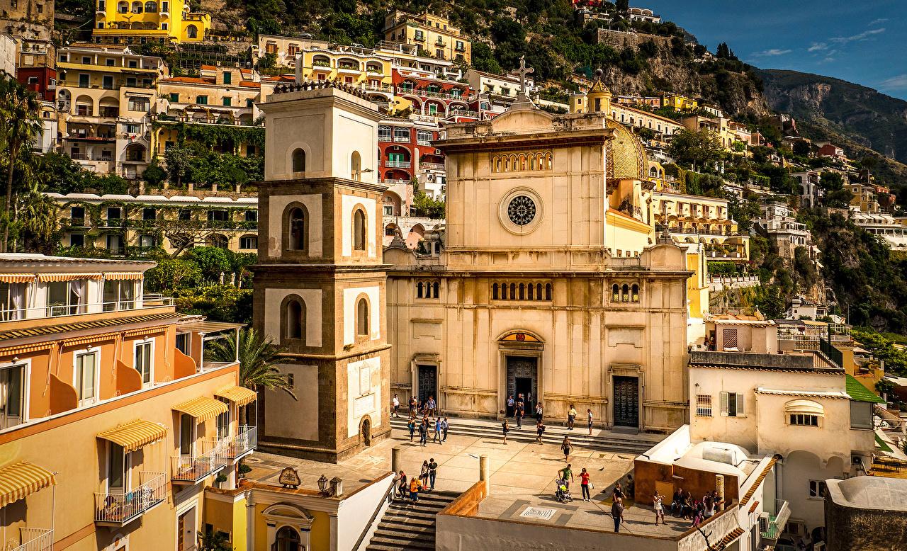 Фото город Позитано Италия Amalfi Coast Храмы Дома Амальфи Города храм Здания