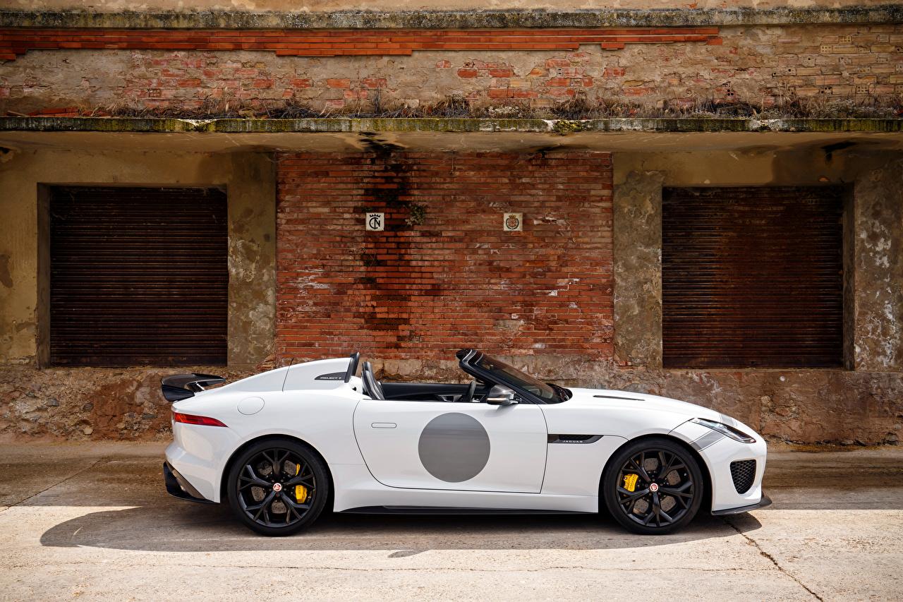 Фотография Ягуар UK-spec F-Type 2014 Project 7 Родстер белых Авто Сбоку Jaguar Белый белые белая Машины Автомобили