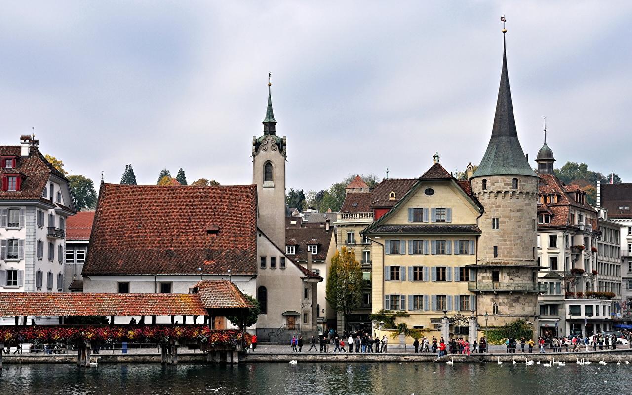 страны город река Люцерна Швейцария скачать