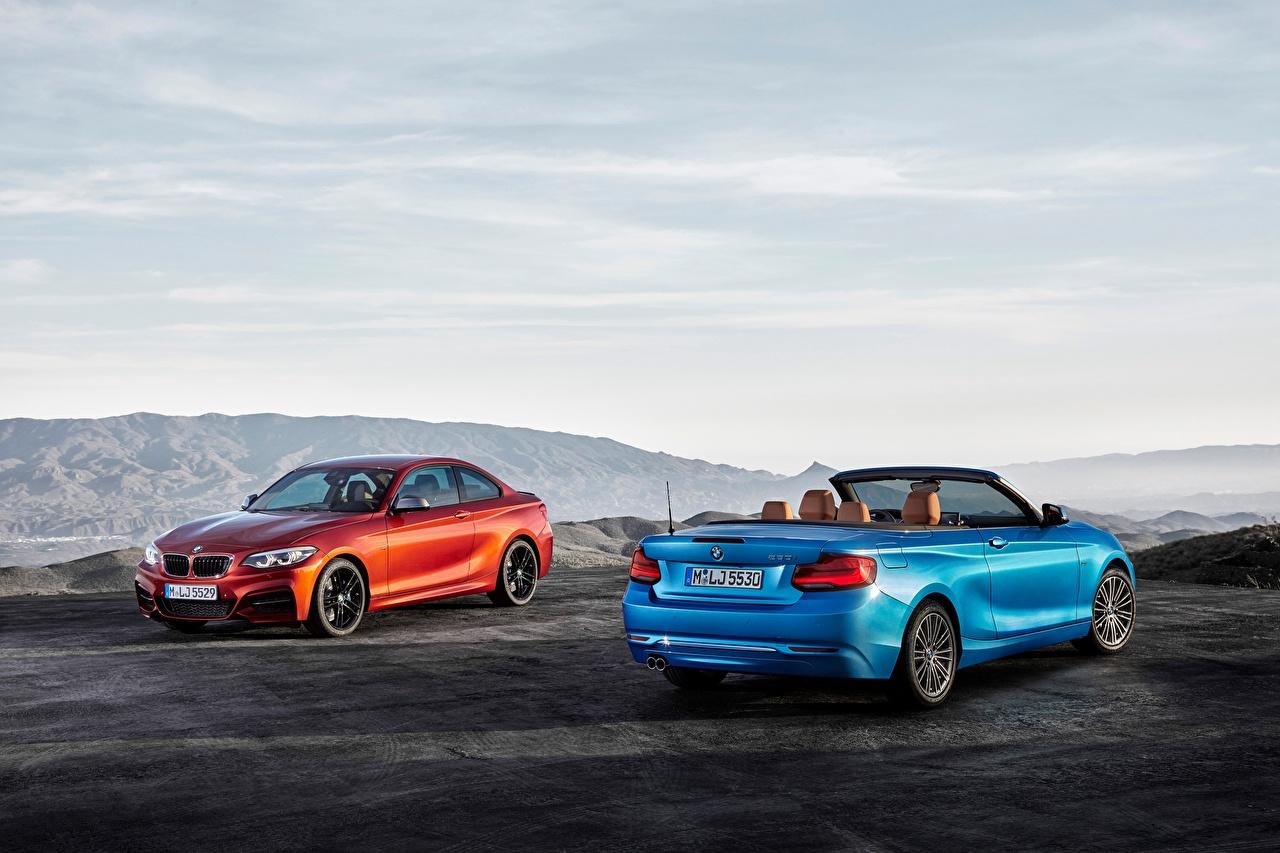 Картинки BMW 2014-17 Serie 2 Кабриолет вдвоем Автомобили БМВ Двое Авто Машины