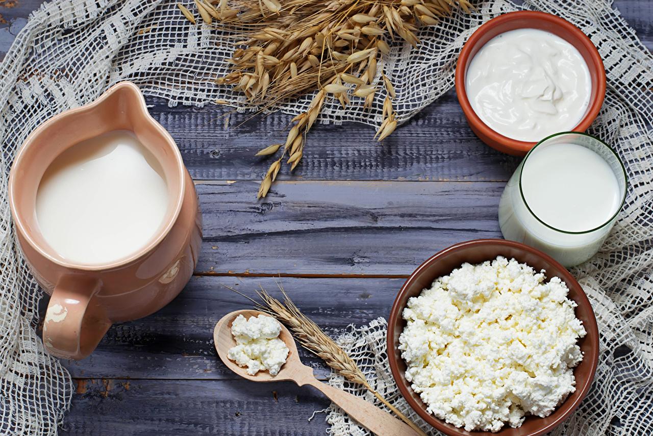 Фотография Продукты питания Молоко Колос Творог Доски Стакан Кувшин Сливки Сметана Еда Пища