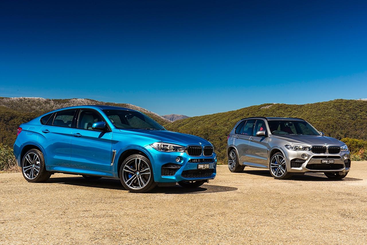 Фотография BMW 2015 X6 M X5 M AU-spec F16 F15 Двое голубые Небо машины БМВ 2 два две вдвоем голубая Голубой голубых авто машина Автомобили автомобиль