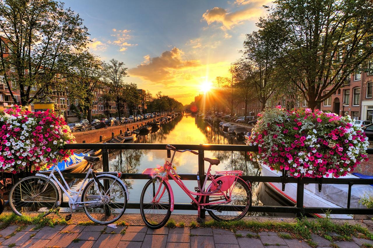 Обои для рабочего стола Амстердам Нидерланды велосипеды Мосты солнца Рассветы и закаты город голландия Велосипед велосипеде мост Солнце рассвет и закат Города
